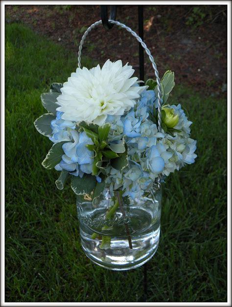 light blue flower arrangements hydrangea bouquets mason jar centerpieces a real