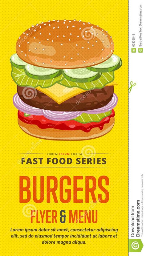 template flyer burger burgers sale flyer stock vector illustration of icon