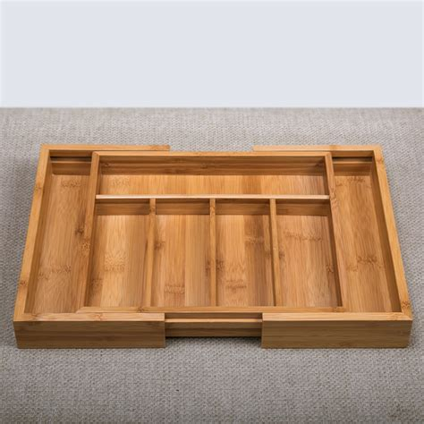 Bamboo Storage Box Besar bamboo adjustable storage box for sundries eco wood office organizer multi use home decor drawer