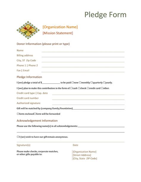 donation pledge form office templates