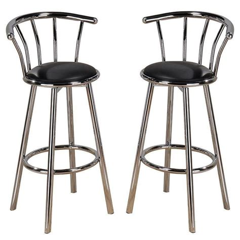 bar stools chair new set of 2 chrome plated metal black swivel vinyl