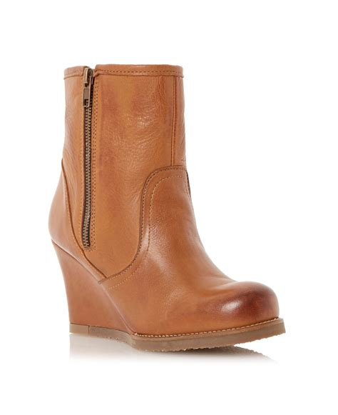dune panup leather wedge boot in brown lyst