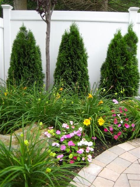 corner flower bed privacy hedges landscaping ideas