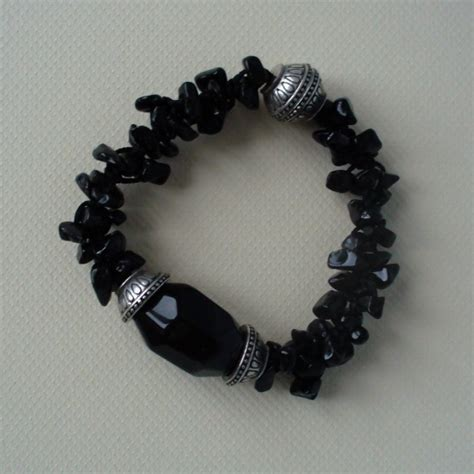 Ametys With Ring Germanium black onyx bracelet healing with onyx gemstone