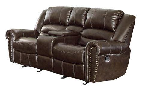 reclining loveseat with center console homelegance 9668brw 2 double glider reclining loveseat