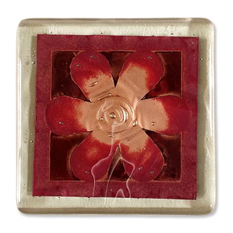 Handmade Glass Coasters - designer flower handmade glass coaster