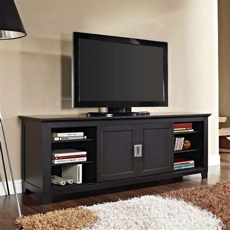 walker edison solid wood 70 inch tv stand with sliding