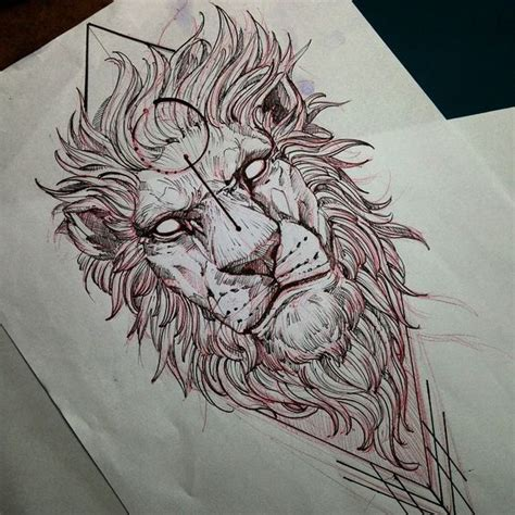 lunatic empty eyed lion on geometric figure background