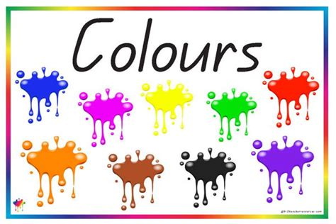 color word printable colour vocabulary words