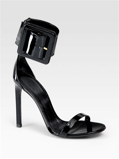 Gucci Buckle Sandals by Lyst Gucci Leather Buckle Ankle Sandals In Black