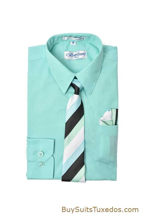 aqua boys dress shirt with matching tie and pocket square