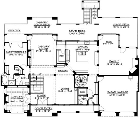 Two Story Library And More 23411jd 2nd Floor Master Two Story House Plans With Library