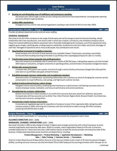 Er Resume by General Manager Resume Exle For A Ceo Gm Candidate
