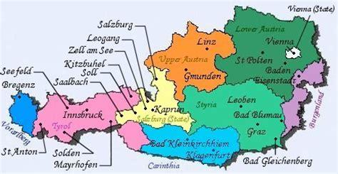 austria regions map maps of europe region country