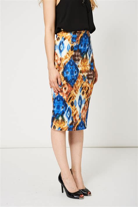 scuba pencil skirt with abstract pattern available in plus