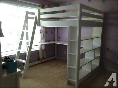 handcrafted full size loft bed  built  bookcase
