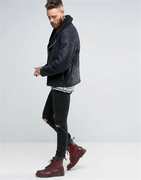 Boots Dr Mart faux shearling biker jacket in black doc mart