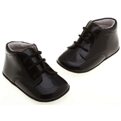 Black Babyheels baby boys black shoes with shoe laces cachet