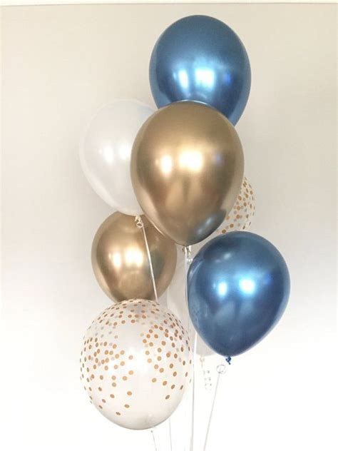 Chrome Blue Balloons Navy and Gold Balloons Navy and White