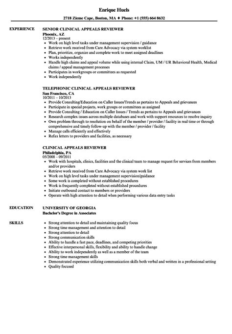 Resume Reviewer by Clinical Appeals Reviewer Resume Sles Velvet