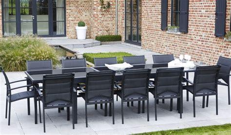 salon de jardin en aluminium avec rallonge salon de jardin 8 ou 12 places table avec 1 grande rallonge plateau en verre aluminium