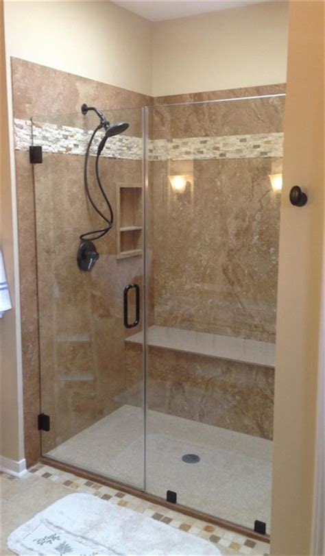 noce travertine tub to shower conversion
