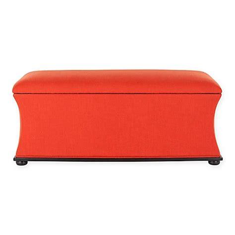 orange storage bench buy safavieh aroura storage bench in orange from bed bath