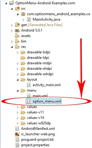 android studio options menu tutorial create option menu on hardware button pressed in android