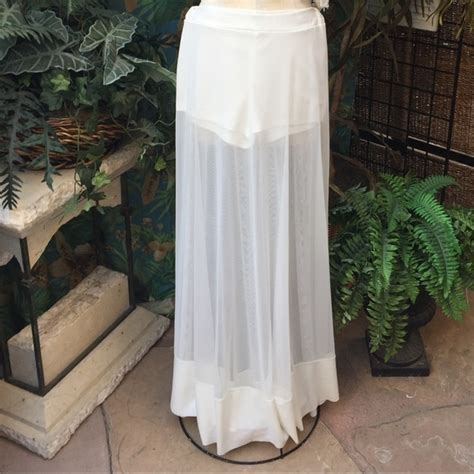 unknown maxi skirt with sheer chiffon overlay inset