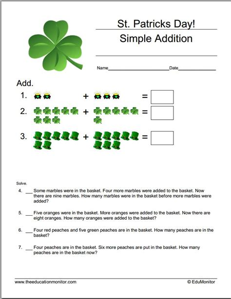s day worksheet st patrick s day math worksheets edumonitor