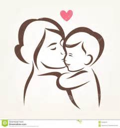 mother and son stylized vector silhouette stock vector