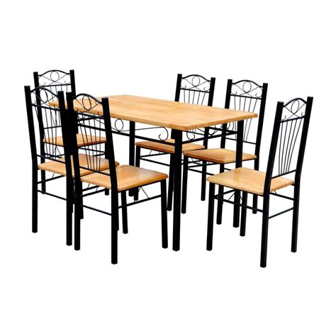 6 Chair Dining Table Dining Table And 6 Chairs Light Wood Vidaxl Co Uk