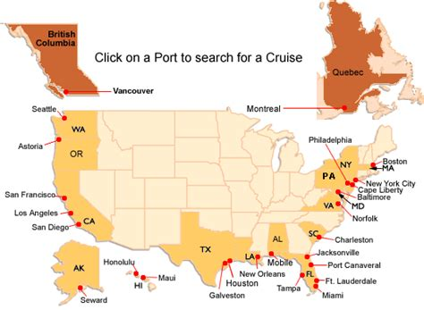 map us ports cruising to home