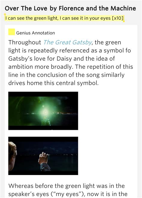 love symbols in the great gatsby i can see the green light i can see it in your over