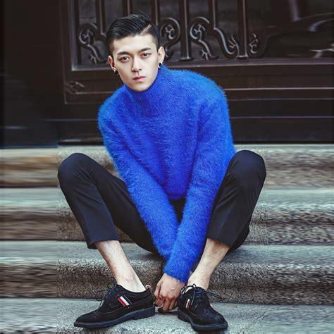light blue turtleneck mens men pullover sweater winter fashion slim thickening male