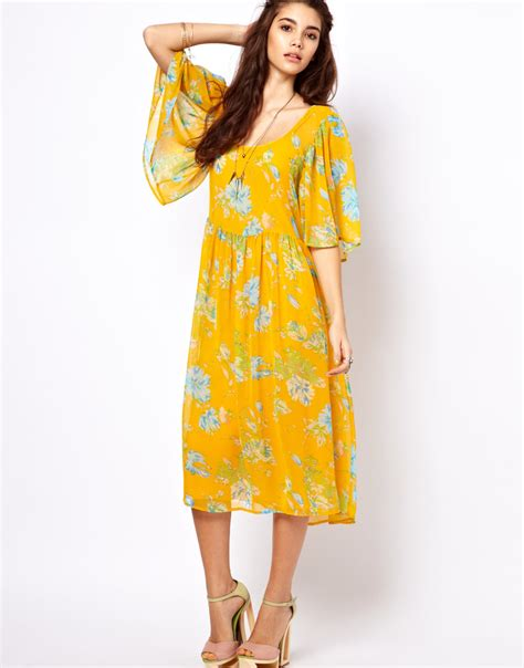 Floral Sleeve Midi Dress lyst asos collection asos midi dress with sleeve