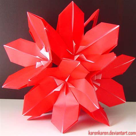 Origami Poinsettia Flower - kusudama poinsettia karencraft