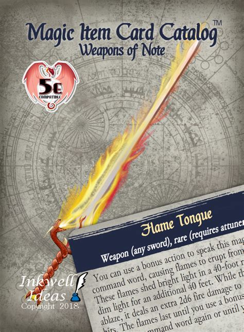 magic item card catalog  weapons  note inkwell ideas