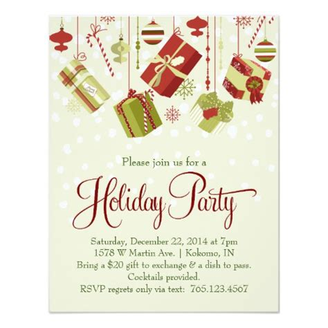 gift exchange holiday christmas party invitation zazzle