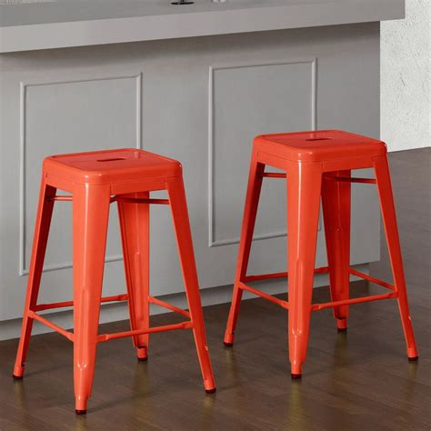 24 Inch Kitchen Stools by Tabouret Tangerine Metal 24 Inch Counter Stools Set Of 2