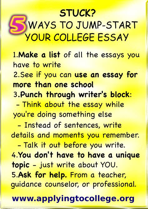Ways To Write An Essay by Stuck 5 Tips To Jump Start Your College Essay Applying To College