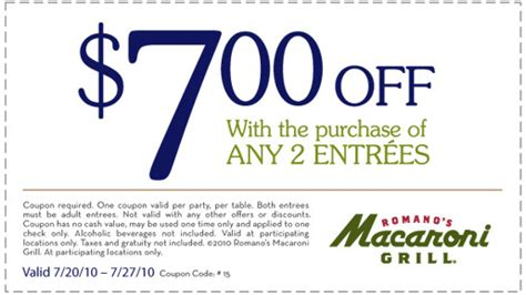 Macaroni Grill Coupon   2017   2018 Best Cars Reviews