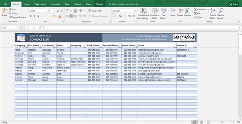 contact spreadsheet template excel contact list template template