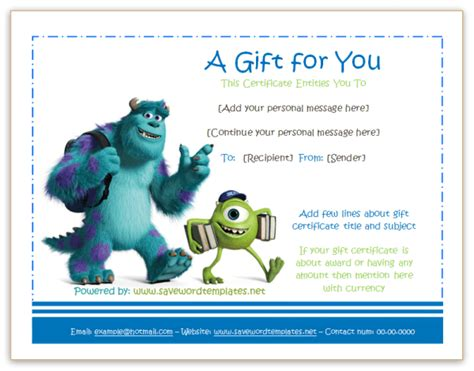 printable disney gift certificates monster university gift certificate gift certificate