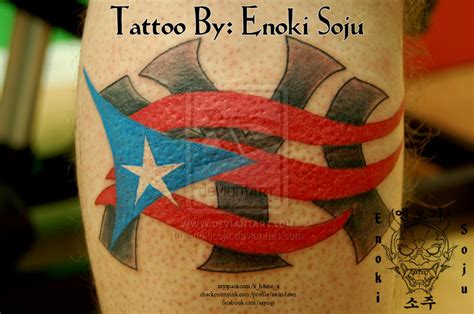 ny logo with puerto rican flag tattoo by enokisoju on