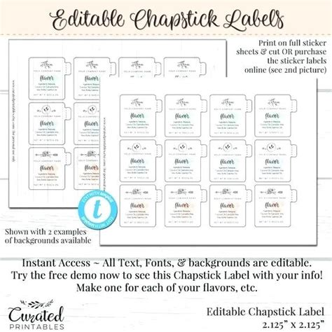free chapstick label template chapstick labels free printable lip balm template custom
