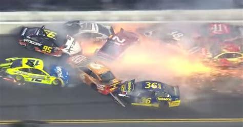 sparks flew   spectacular  car nascar crash