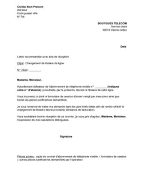 Modification Nom De Famille by Lettre De Changement De Titulaire De La Ligne T 233 L 233 Phonique