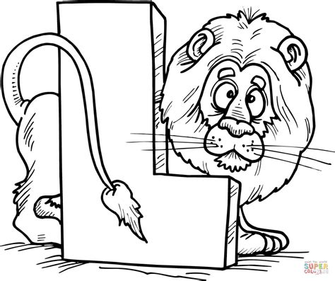 letter l is for lion coloring page free printable