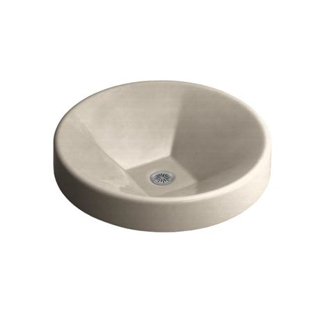 kohler round bathroom sinks shop kohler inscribe cane sugar cast iron drop in round